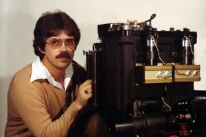 Classic photo of Tom Rohner and early plasma engine
