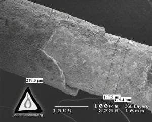 Scanning Electron Microscope image of treated Celani wire by MFMP.