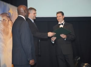 Robert Vancina accepting Energy Globe award for Sustainability 2009