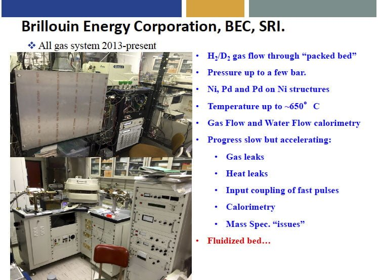 Slide from M.McKubre: Brillouin Energy gas flow cell gets up to 650 degrees
