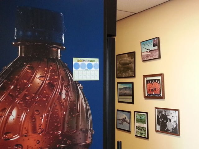 Cold Fusion Now calendar magnet sits at Mojave Spaceport soda machine!
