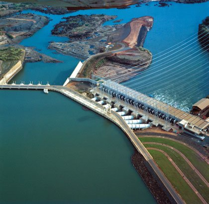 Biggest dam in the world in Brazil.