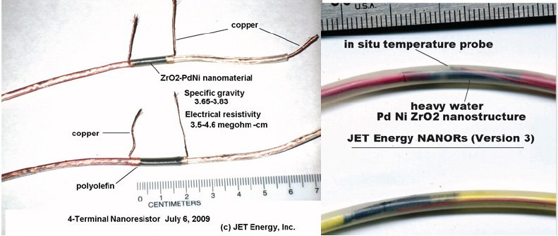 Fig. 2 – Series II and III two terminal NANOR™-type devices containing active ZrO2-PdNiD nanostructured material at their core.