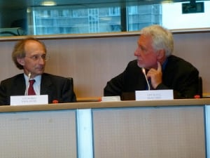 Dr. Vittorio Violante and Dr. Michael McKubre at European Parliament ITRE meeting.