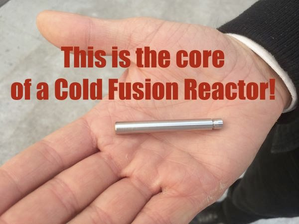 Nicolas Chauvin of LENR Cars and MFMP displays tiny fuel capsule of a cold fusion reactor.